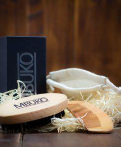 MBUKO Bartpflege Set - Bartbürste WIldschweinborsten und Bartkamm Holz