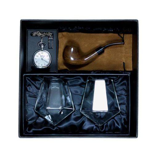 Geschenkbox für Männer Pfeife Whisky Taschenuhr