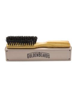 Golden Beards Bartbürste mit Holz Griff Wildschweinborsten
